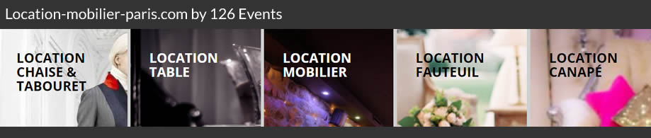 126 events, Mobilier salon professionnel, évènementiel et mariage. Tél : 01 48 43 00 00